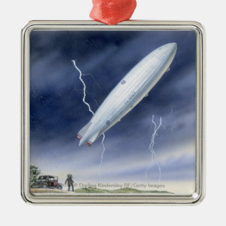 Illustration of airship being struck by lightning metal ornament