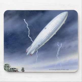 Illustration of airship being struck by lightning mouse pad