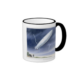 Illustration of airship being struck by lightning coffee mug
