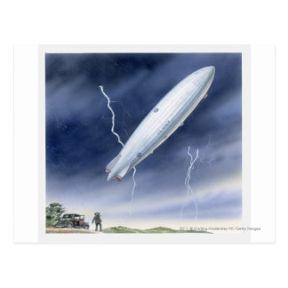 Illustration of airship being struck by lightning postcard