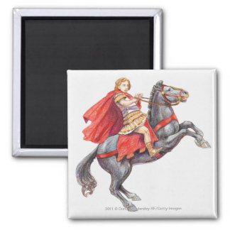 Illustration of Alexander the Great 2 Inch Square Magnet