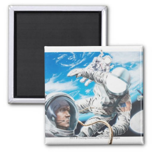 Illustration of American astronauts in space 2 Inch Square Magnet
