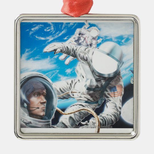 Illustration of American astronauts in space Metal Ornament