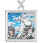 Illustration of American astronauts in space Square Pendant Necklace