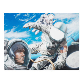Illustration of American astronauts in space Postcard