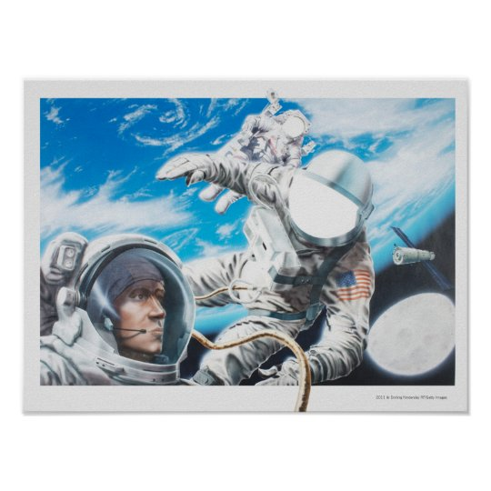 Illustration of American astronauts in space Poster