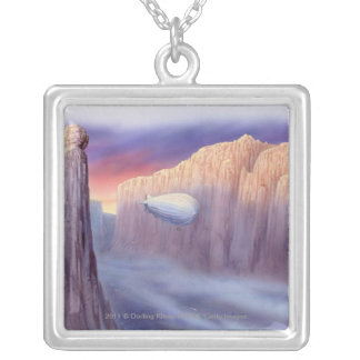 Illustration of an airship travelling silver plated necklace