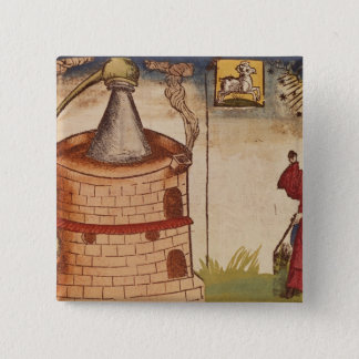 Illustration of an alchemist at work button