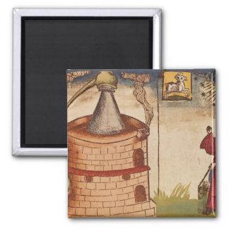 Illustration of an alchemist at work magnet
