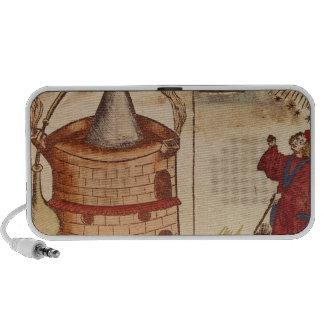 Illustration of an alchemist at work travelling speakers