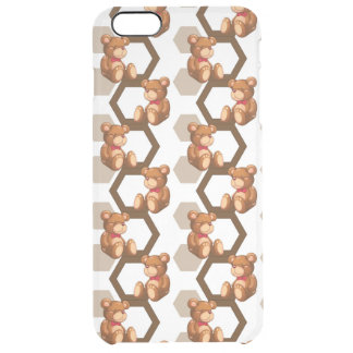 illustration of an array of teddy bear on white clear iPhone 6 plus case