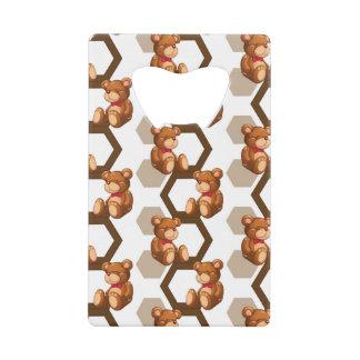 illustration of an array of teddy bear on white credit card bottle opener