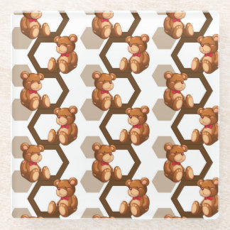 illustration of an array of teddy bear on white glass coaster
