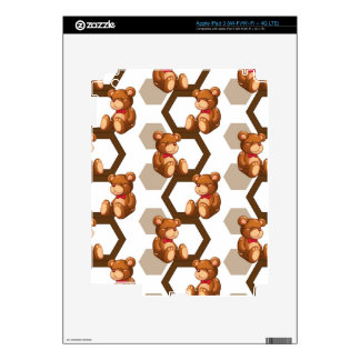 illustration of an array of teddy bear on white iPad 3 decal