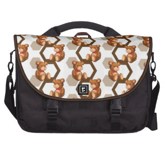 illustration of an array of teddy bear on white bags for laptop