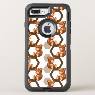 illustration of an array of teddy bear on white OtterBox defender iPhone 7 plus case