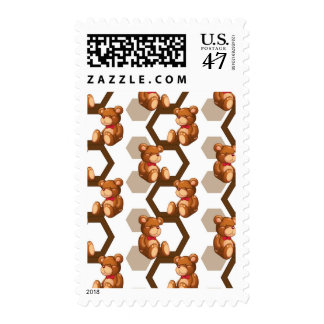 illustration of an array of teddy bear on white stamp