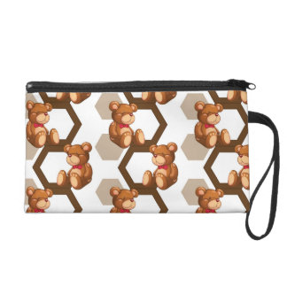 illustration of an array of teddy bear on white wristlet purse