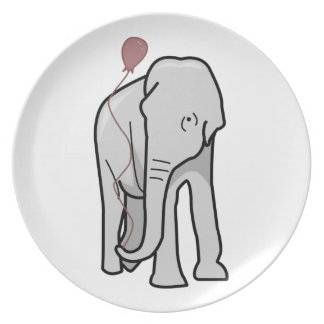 Illustration Of An Elephant Holding A Balloon Plate