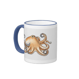Illustration of an octopus mugs