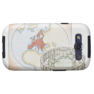 Illustration of ancient stone circle in front of samsung galaxy s3 cover