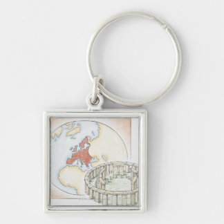 Illustration of ancient stone circle in front of keychain