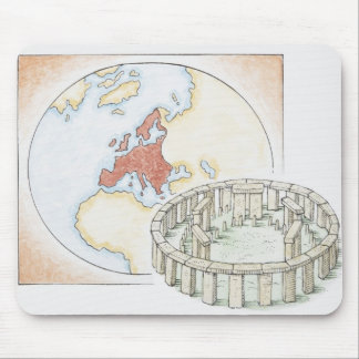 Illustration of ancient stone circle in front of mouse pad