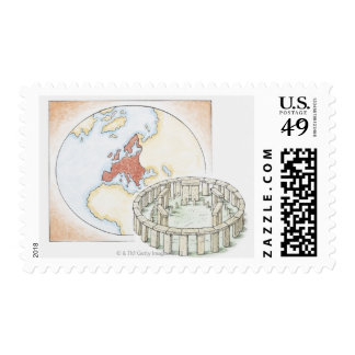 Illustration of ancient stone circle in front of postage