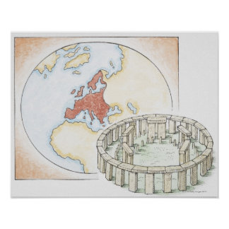 Illustration of ancient stone circle in front of poster