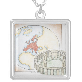 Illustration of ancient stone circle in front of square pendant necklace