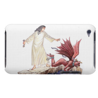 Illustration of angel looking on as red dragon barely there iPod cover