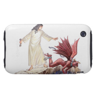 Illustration of angel looking on as red dragon tough iPhone 3 cover