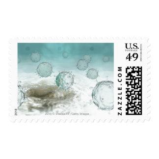 Illustration of avian flu cells postage