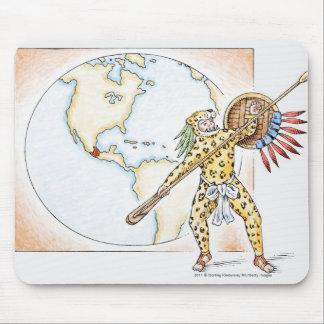 Illustration of Aztec Jaguar Warrior Mouse Pad