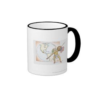 Illustration of Aztec Jaguar Warrior Mugs