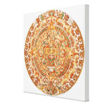 Illustration of Aztec sun stone Gallery Wrap Canvas