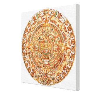 Illustration of Aztec sun stone Canvas Print