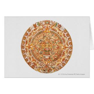 Illustration of Aztec sun stone Card