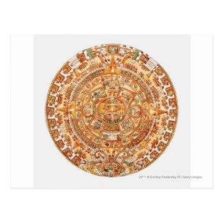 Illustration of Aztec sun stone Postcards