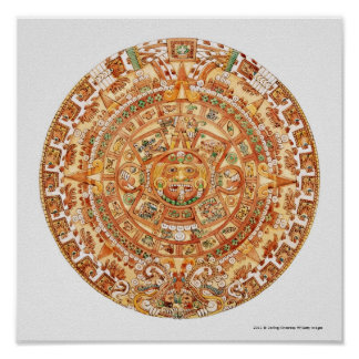 Illustration of Aztec sun stone Poster