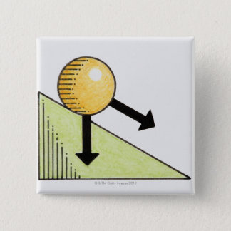 Illustration of ball moving down a slope, arrows button