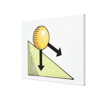 Illustration of ball moving down a slope, arrows stretched canvas print