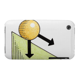 Illustration of ball moving down a slope, arrows iPhone 3 Case-Mate case