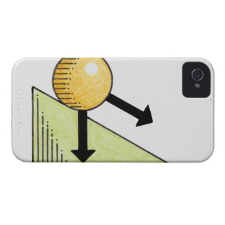 Illustration of ball moving down a slope, arrows iPhone 4 case