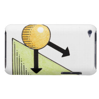 Illustration of ball moving down a slope, arrows iPod touch case