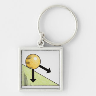 Illustration of ball moving down a slope, arrows keychain