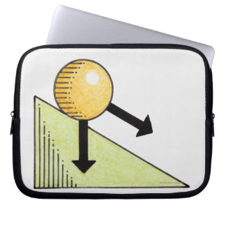 Illustration of ball moving down a slope, arrows computer sleeves