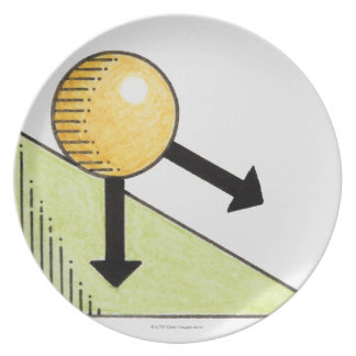 Illustration of ball moving down a slope, arrows melamine plate