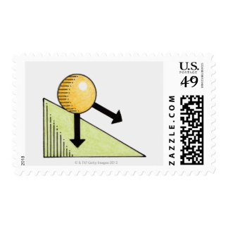 Illustration of ball moving down a slope, arrows postage stamp