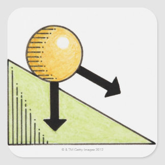 Illustration of ball moving down a slope, arrows square sticker